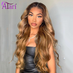 30 Inch Body Wave Lace Front Wig Honey Color1B 27 Ombre Lace Front Wig Brazilian Virgin Hair Human Hair Wigs Highlight Brown Wig
