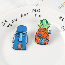 Cartoon BoB Pin ! Masks House Pineapple Squidward Sponge Baby Hard Enamel Pins Backpack Denim Badge For Gift