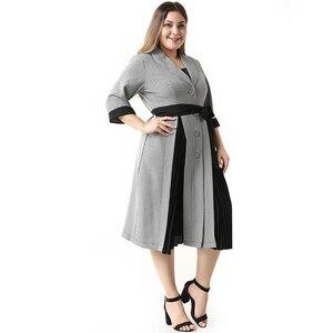 Image 2 - 2020 העבאיה ארוך קיץ נשים שמלות גדול בתוספת גודל אופנה אלגנטי מזדמן תפרים יחיד חזה Sashes Midi חליפת שמלה