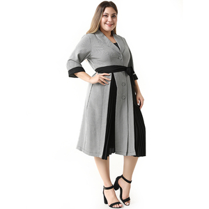 Image 2 - Abaya Vestidos largos de talla grande para mujer, moda de talla grande, elegante, informal, costura, traje de una sola botonadura, Midi, verano 2020