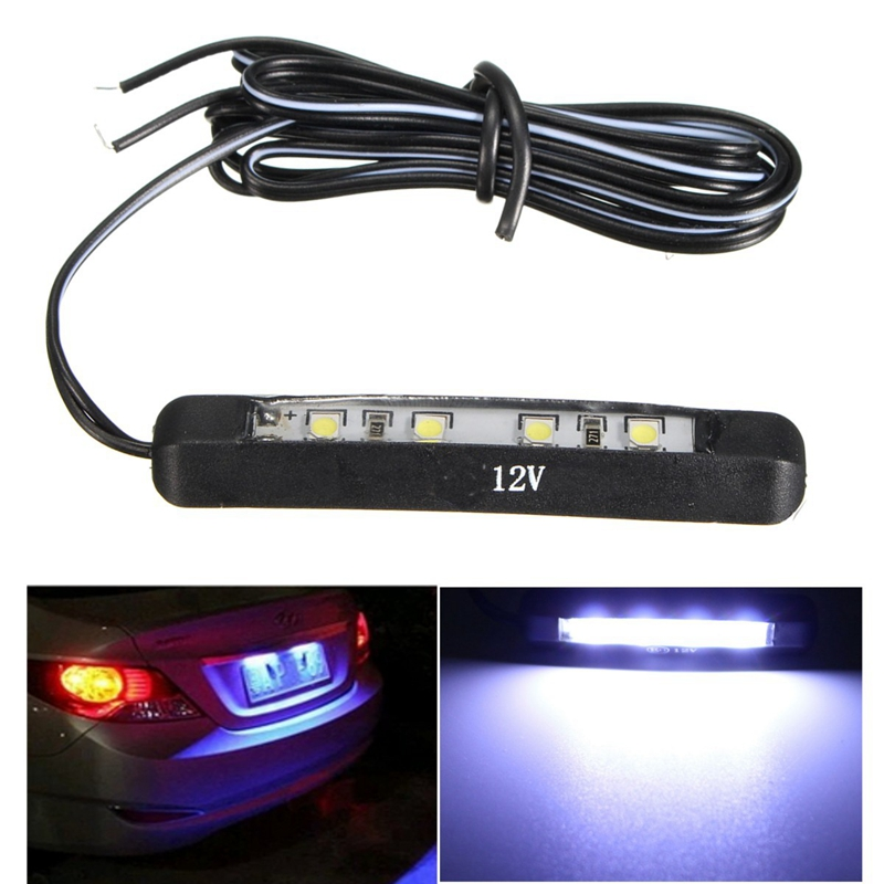 Car Motorcycle Led Tiny Rear Number Plate Light Lamp 12V 4Led Number Plate Tail Light Car License Plate Decoration Light Parts