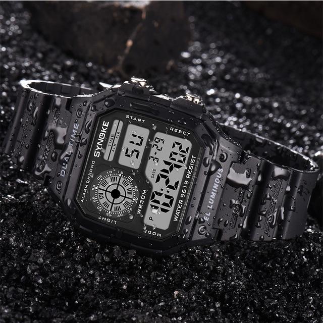 SYNOKE Military Sports Watch Shock Digital Watch LED Men Clocks Relojes Deportivos Waterproof Luminous Alarm Clock Male 2019