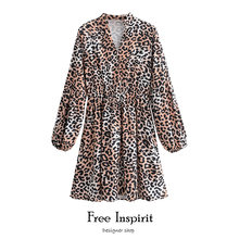 Женское платье с леопардовым принтом длинным рукавом и v образным