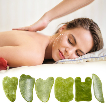 Natural Jade Gua sha Scraper Board Face Massager Facial Guasha Meridian Muscle Relaxation Skin Lifting Face Thin Gouache Scraper 1