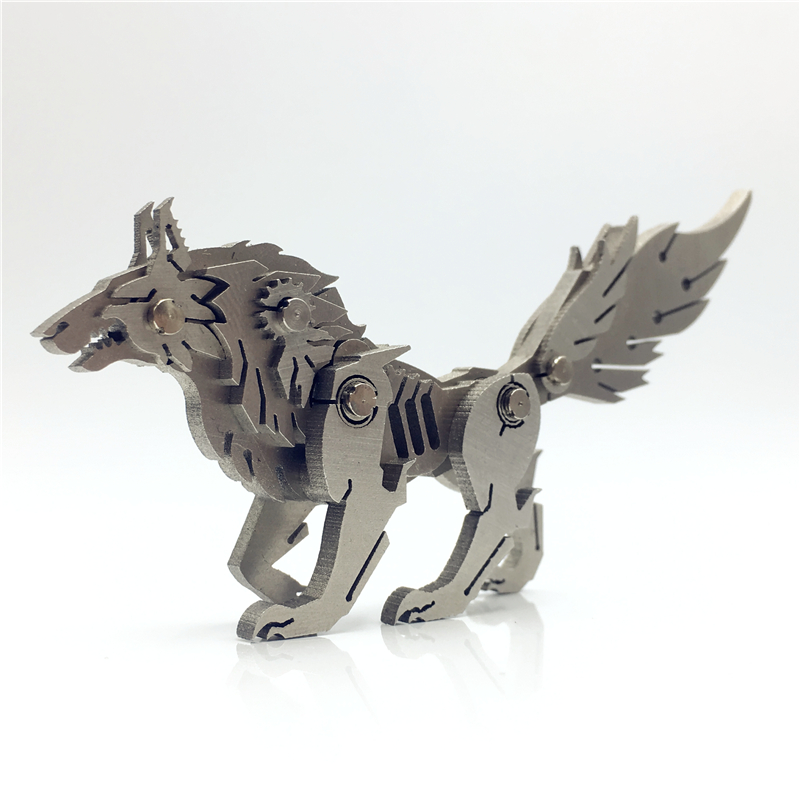 Assembly-Model Jigsaw-Puzzle Fancy Christmas-Present Metal 3-D Wolves Stainless-Steel