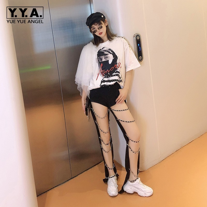 New Brand Sexy Punk Style Hollow Out Chain Womens Denim Pants Fashion Casual High Waist Slim Black Vintage Female Cross Pants
