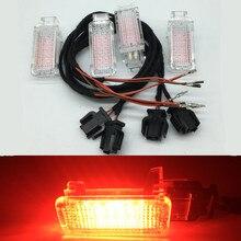 אדום רכב פנים דלת אזהרה בברכה Led אור כבל חיווט לרתום עבור A3 A4 B8 A5 A6 S6 C7 C8 a7 A8 Q3 Q5 Q7 TT RS3 RS4 TTRS