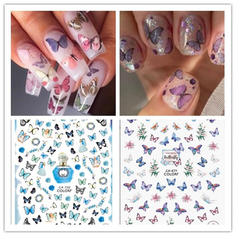 Butterfly Series Spring Ultra-thin Adhesive Nail Stickers INS Small Red Book Net Red Butterfly Nail Stickers