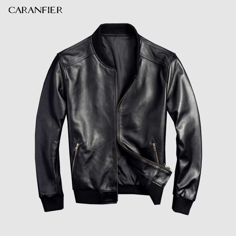 CARANFEIR Brand Vintage Genuine Leather Jacket  Mens 100% Cowhide New Style Clothes Fashion Motor Biker Black Leather Jackets