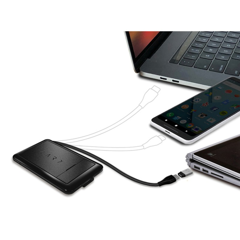 Solid Multi Function Urban Survival Card Portable LED Light Card Reader Wireless Charger Data Cable Bag
