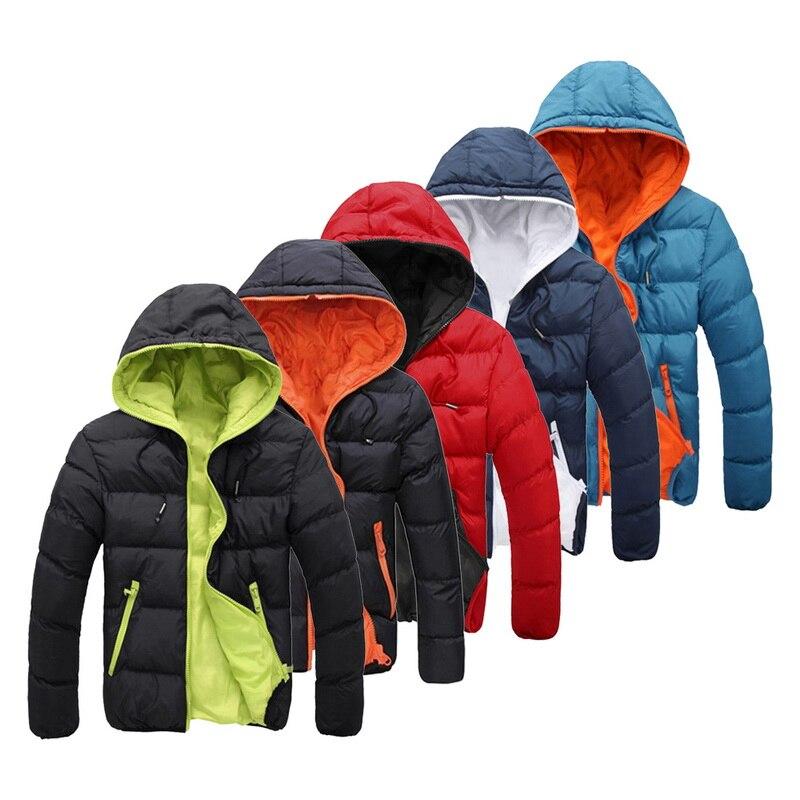 Men 2019 Winter Warm Casual Hooded Parka Fashion Male Thick Padded Jacket Windbreaker Zipper Slim Fit Mens Coats Parkas Outwear