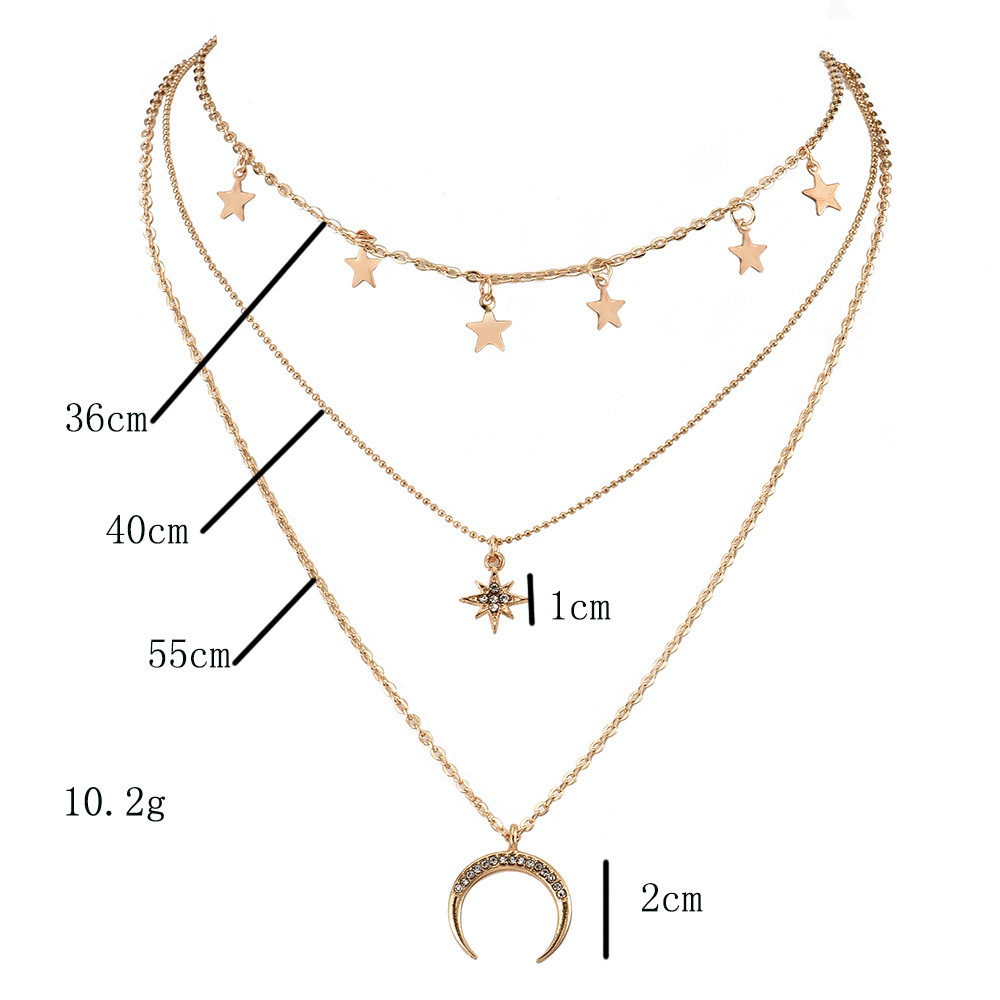 Gold Silver Color Stars Tassel Choker Rhinestone Star Moon Pendants Necklaces for Women Layered Necklaces 2020 Fashion Jewelry