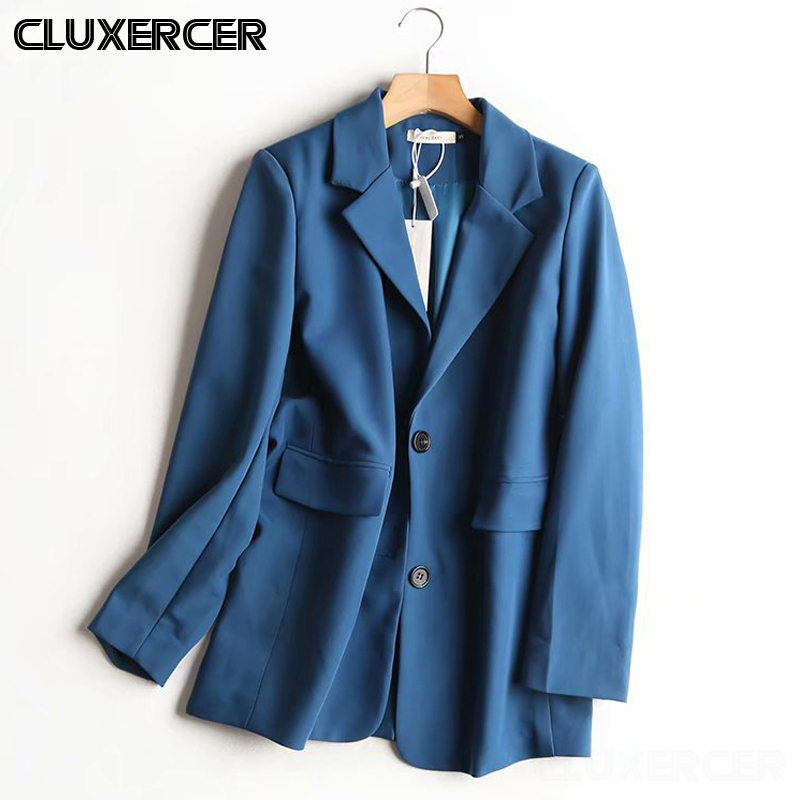 Spring Autumn Blue Blazer 2020 New Women Korean Solid Pockets Suit Jacket Coat Female Casual Long Sleeve Mujer Outwear