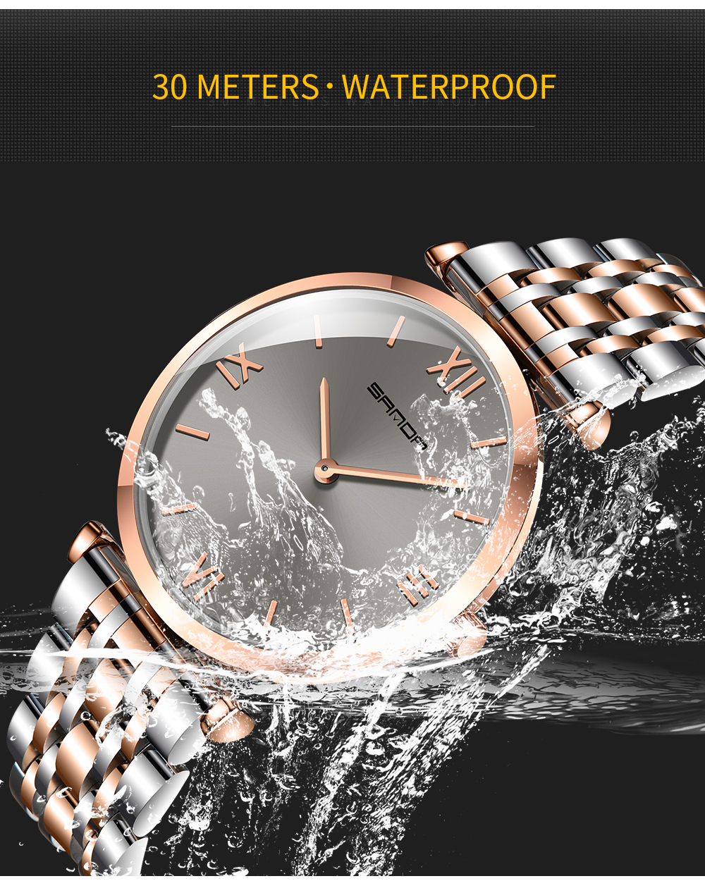 à prova dwaterproof água aço inoxidável design