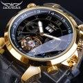 Механические часы с золотым турбийоном, Мужские автоматические часы с календарем, черные часы с ремешком из натуральной кожи, наручные часы...