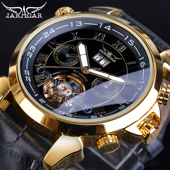 Jaragar Golden Tourbillon Mechanical Watches Men's Automatic Calendar Black Genuine Leather Belt Dress Wristwatch Relogio Clock