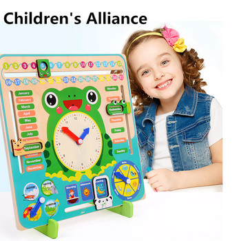 Montessori Wooden Toys Baby Weather Season Calendar Clock Time Cognition Preschool Educational Teaching Aids Toys For Children flyingtown montessori teaching aids balance scale baby balance game early education wooden puzzle children toys
