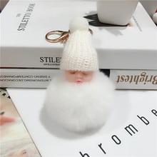 1Pcs Cute Fluffy Sleeping Baby Keychain Pompom Rabbit Fur Ball Key Chain Car Keyring Women Key Holder Bag Pendant Charm Jewelery