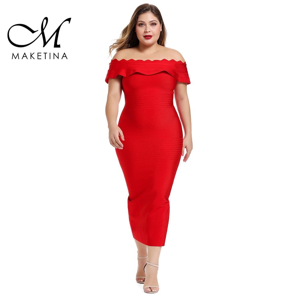 Maketina 2020 Women Off Shoulder Plus Size Bandage Dress Midi Elegant Red Bandage Dress Sexy Party Club Plus Size Bodycon Dress