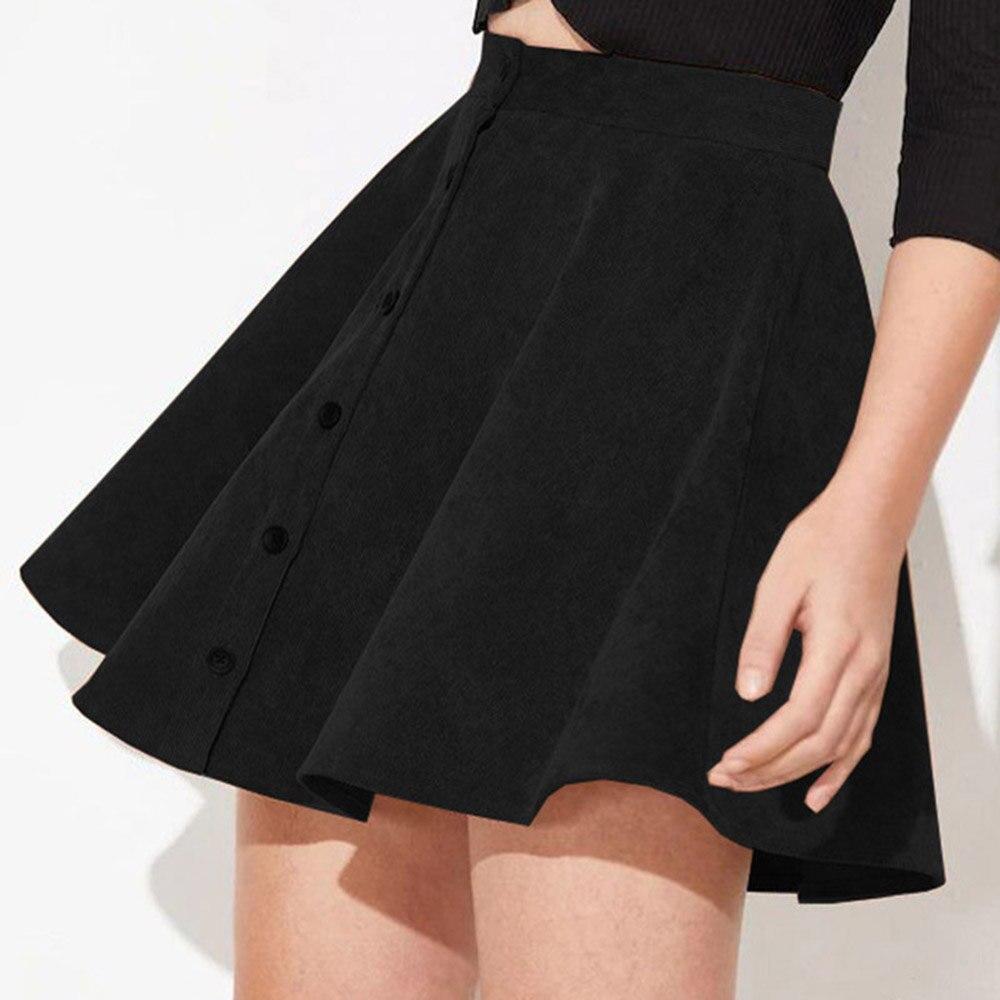 Rosetic Women Skirt Black Vintage Female Girl Retro Skirts Elegant Mini Skirts Button Aline High Waist Skirt Mini College Skirt