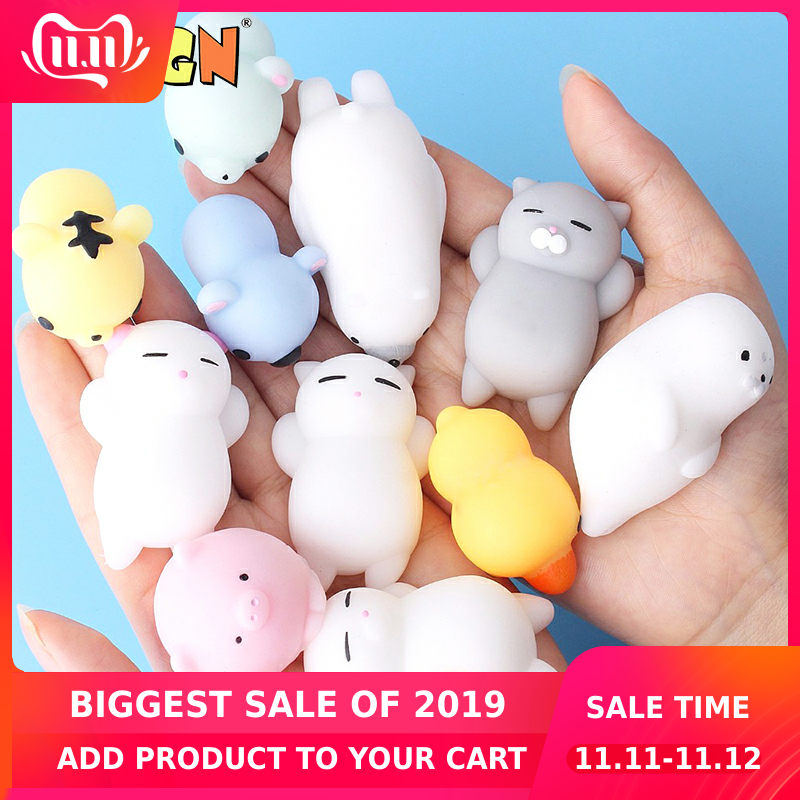 Mini Cartoon Squishy Cute Cat Antistress Action Figure Squeeze Smooshy Mushy Mochi Relief Funny Gift Decompression Kids Toys