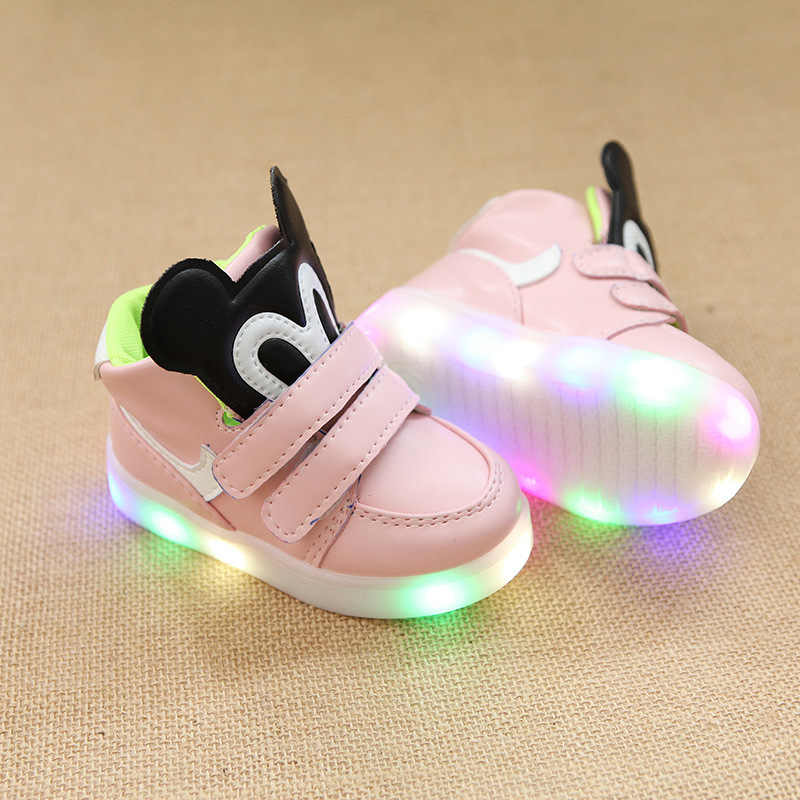 รองเท้าเด็กรองเท้าส่องสว่างสำหรับสาว Mickey รองเท้าฤดูใบไม้ร่วงเด็ก LED Light Up รองเท้าผ้าใบเด็กรองเท้าส่องสว่างเด็กเทนนิสรองเท้าผ้าใบ