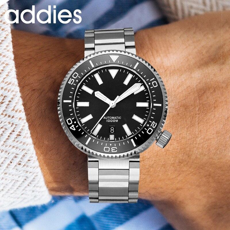 Addies Men Automatic Analog Watch Business C3 Night Light 1000m Diving Waterproof Hockey Steel Timepiece