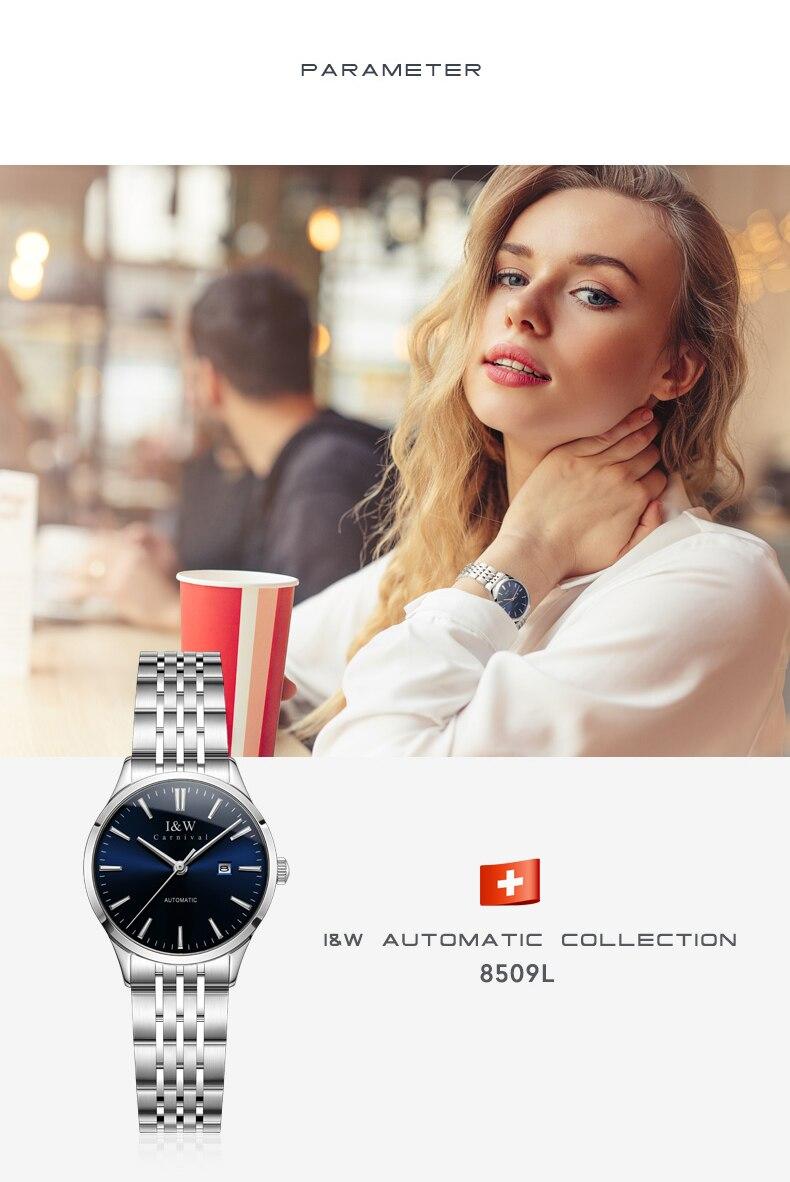 2020 miyota relógio automático feminino safira calendário