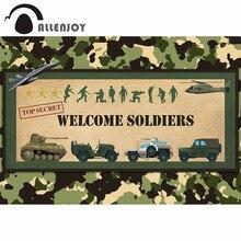Allenjoy Welkom Soldaten fotografie achtergrond verjaardag camouflage militaire pop vliegtuigen tank achtergrond photophone photocall