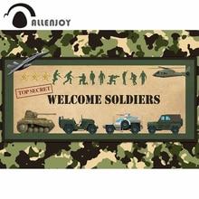 Allenjoy 歓迎兵士写真の背景誕生日迷彩軍事人形航空機タンク背景 photophone photocall