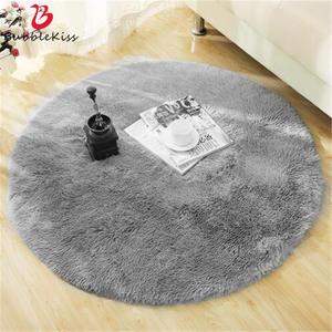 Round Rug Carpets Living-Room-Decor Modern-Mats Bedroom Faux-Fur Fluffy Shaggy-Area Long