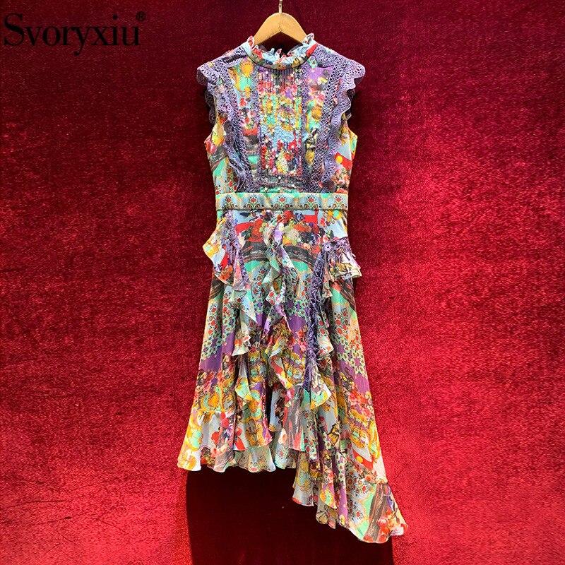 Svoryxiu, vestido de verano de moda de pasarela sin mangas, vestido de mujer de diseño Vintage con estampado de encaje bordado con volantes, vestidos asimétricos|Vestidos|   - AliExpress