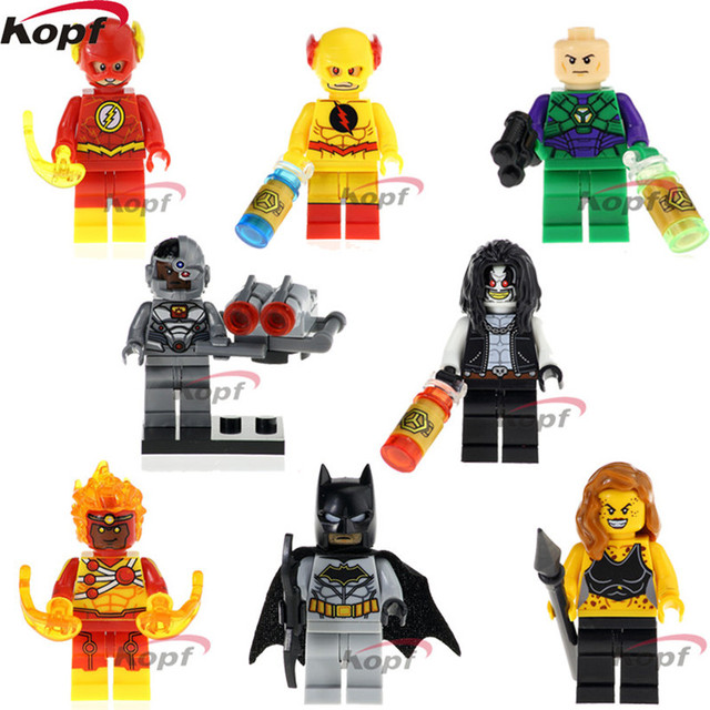 Building Blocks Super Heroes The Flash Cyborg Reverse-flash Lex-Luther Firestorm Batman Bricks Action Toys for children X0178Model Building