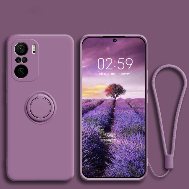 LOVECOM Original Soft Liquid Silicone Case For Xiaomi Redmi Note 10 9 9S Pro Ring Holder Strap Cover For Mi Poco X3 10T Lite 1