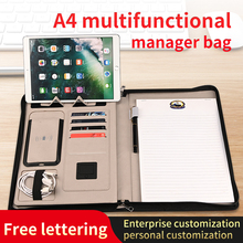 2021 Multifunctional Wireless Charging Notebook Business A4 Loose-Leaf Hand Book Power Supply Notepad Can Be Customized Log