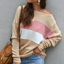 2019 autumn winter Women Sweater Casual Soft O-Neck Striped Stitches Shoulder Strap Long Sleeve Tops цена 2017