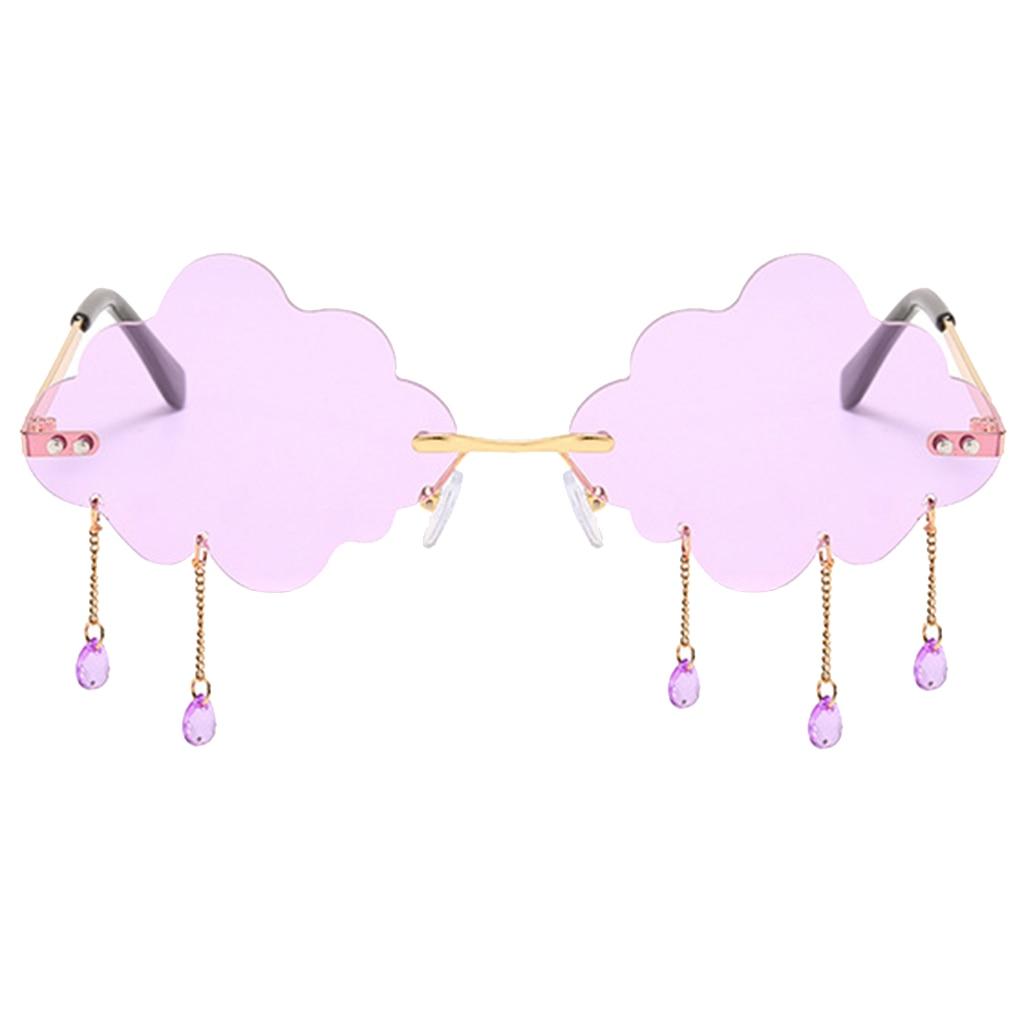 Fashion Rimless Sunglasses for Women Steampunk Cloud Tassel Sunglasses Shades Vintage Unique Tears Shape UV400 Sunglasses