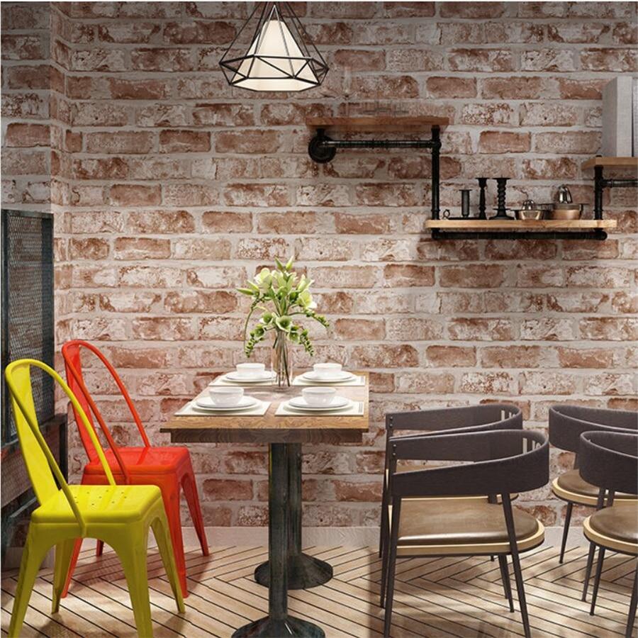 Retro nostalgic 3d brick wallpaper antique red restaurant bar barber shop papier peint