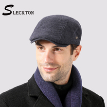 SLECKTON 2020 Casual Berets Cap for Men Striped Flat Cap Fashion Newsboy Hat Retro Knitted Peaked Cap Vintage Velvet French Hat