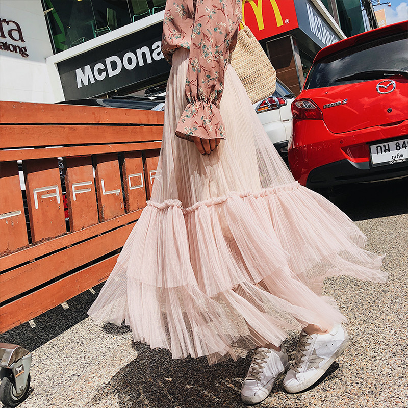 Sweet Big Hemline Joint Gauze Skirt WOMEN'S Dress 2019 Summer Korean-style Flounced Long Skirts Fairy Beach Skirt