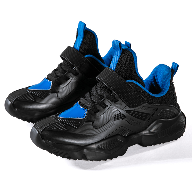 ULKNN Autumn Winter Boy Sneakers Kids Black Blue Soft Sports New 5 Big Children 6 Leather Waterproof 10 Boys Black Running Shoes
