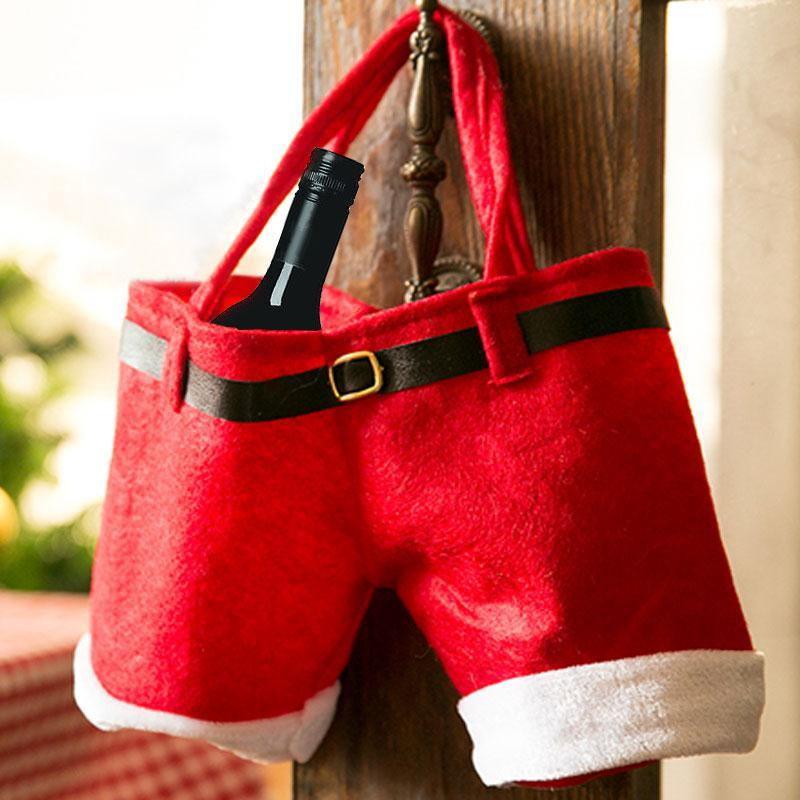 Санта-Клаус, держатель для бутылки вина, изолированный чехол для сумки, рождественские штаны на подтяжках, Подарочный охладитель, термодекор, Рождественская наклейка