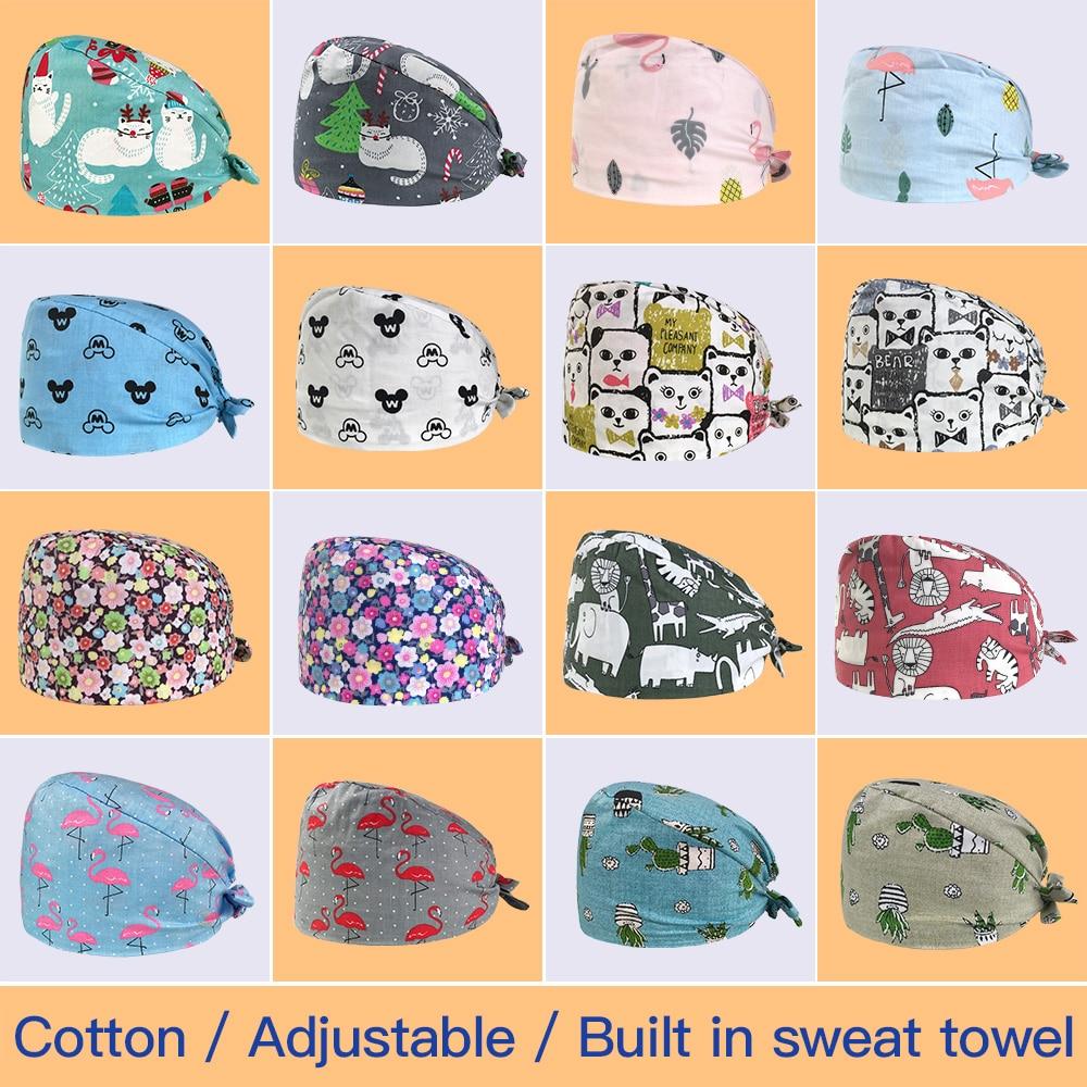 IF New Nursing Ground Caps Pet Veterinary Surgical Hat Dental Clinic Medical Caps Sweatband Adjustable Nurse Work Hats Wholesale