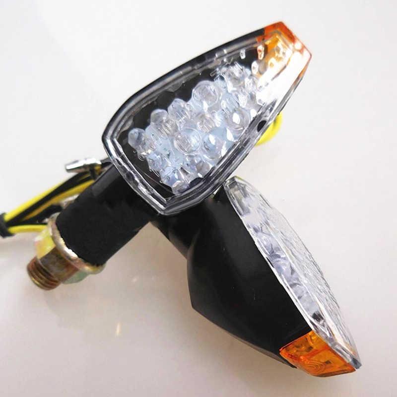 1 زوج مصباح دراجة بخارية 14LED بدوره أضواء الإشارة 12 فولت العنبر مؤشر DRL لهوندا لسوزوكي كاواساكي 25 سنتيمتر 21 واط