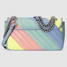 Walking show big brand design, one shoulder slant span, portable fashion rainbow bag