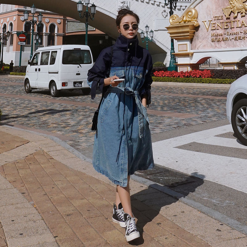 Trench-Coat en Denim pour femmes, Streetwear Long et ample, Trench-Coat avec ceinture, jean, coupe-vent féminin, FY71, 2020