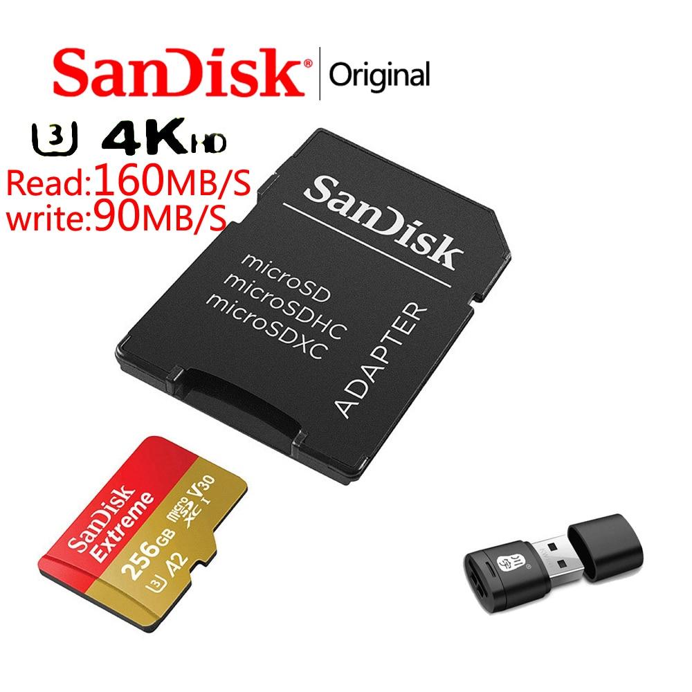 Sandisk карта памяти Micro SD, Класс A2, A1, V30, U3, 64 ГБ, 32 ГБ, 128 ГБ, 256 ГБ