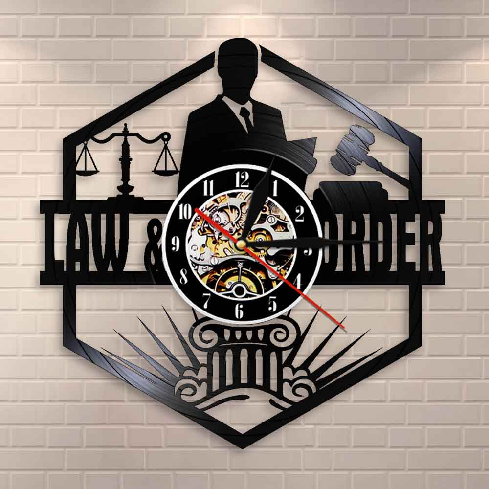 Scales Of Justice Lawyer Office Courtroom Decor Attorney Wall Clock Lawyer Vinyl Record Wall Clock Law Order Pass The Bar Gift