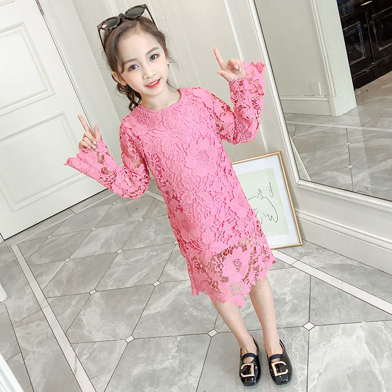 Korean Luxury Baby Girls Long Sleeve Lace <font><b>Dresses</b></font> 2019 High Quality <font><b>Kids</b></font> Princess Embroidery Flower <font><b>Cocktail</b></font> Lace Evening <font><b>Dress</b></font> image