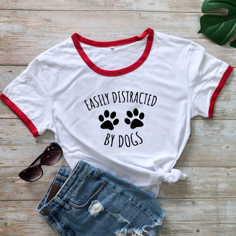 Kolayca dikkat dağınık tarafından köpekler zil T gömlek kadınlar casual yaz komik T Shirt Harajuku Tee gömlek Femme Kawaii üstleri Dropshipping